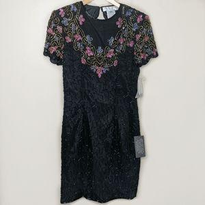 NWT Adrianna Papéll Evening Silk Beaded Dress